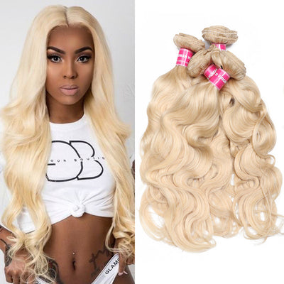 Sunber Hair Blonde 613 Hair Weave 4 Bundles Body Wave Virgin Human Hair Weft
