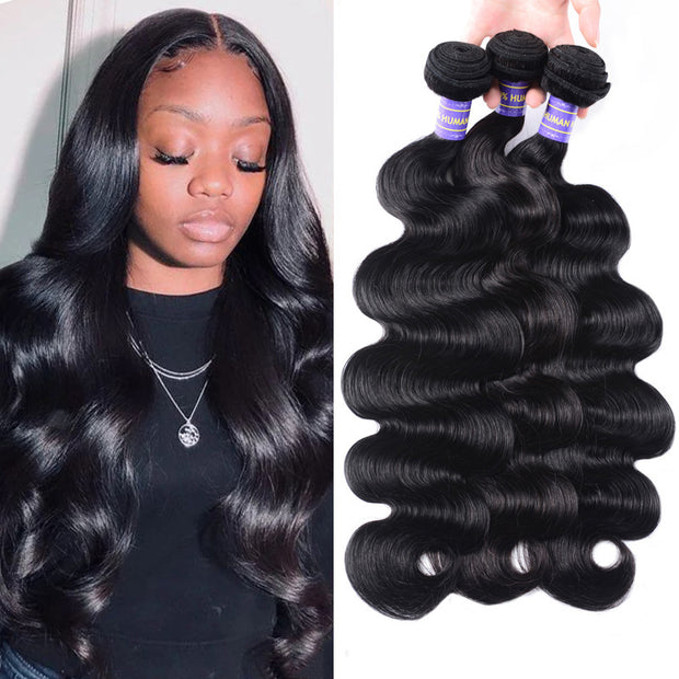 Sunber Hair Remy Human Hair Malaysian Body Wave Hair 3 Bundles 100% Unprocessed Human Hair Weave for Black