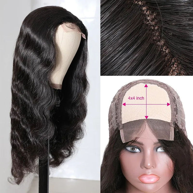 Sunber Natural Black Color 4x4 Lace Closure Part Wig With Baby Hair Body Wave Human Hair Wig 150% Density