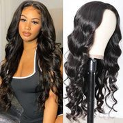 Sunber 4 By 4 Lace Closure Part Wig With Baby Hair Body Wave Natural Color 150% Density Hand Tied Lace Part Line Realistic Wigs