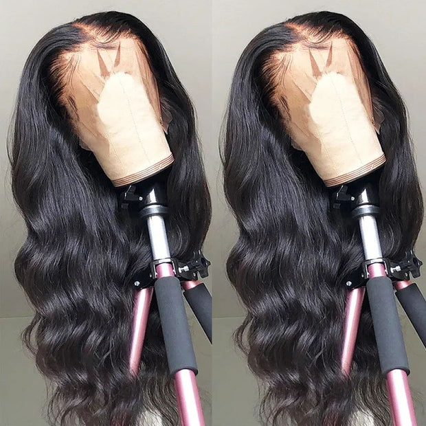 Sunber 9A Grade 13 by 4 Transparent Lace Frontal Wigs With Baby Hair Pre Plucked Body Wave Human Hair Wigs 130% 150% 180% Density