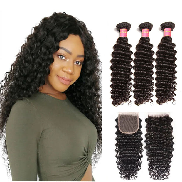 "Sunber Hair Brazilian Virgin Deep Wave Hair 3 Bundles With  4""*4"" Lace Closure, 100% Human Hair"