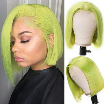 Sunber Hair 13*4 HD Transparent Lace Front Wig Brazilian Lime Green Short Bob Wig Preplucked With Baby Hair
