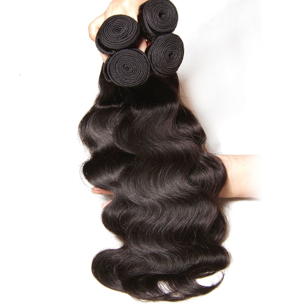 100% Peruvian Body Wave Hair 4 Bundles with 13*4 Lace Frontal, 7A Sunber Human Hair - Sunberhair
