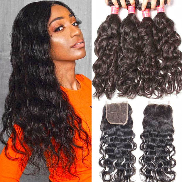 Sunber Hair Brazilian Natural Wave Hair Bundles 4 Bundles with Lace Closure, Unprocessed 8A Affordable Brazilian Hair