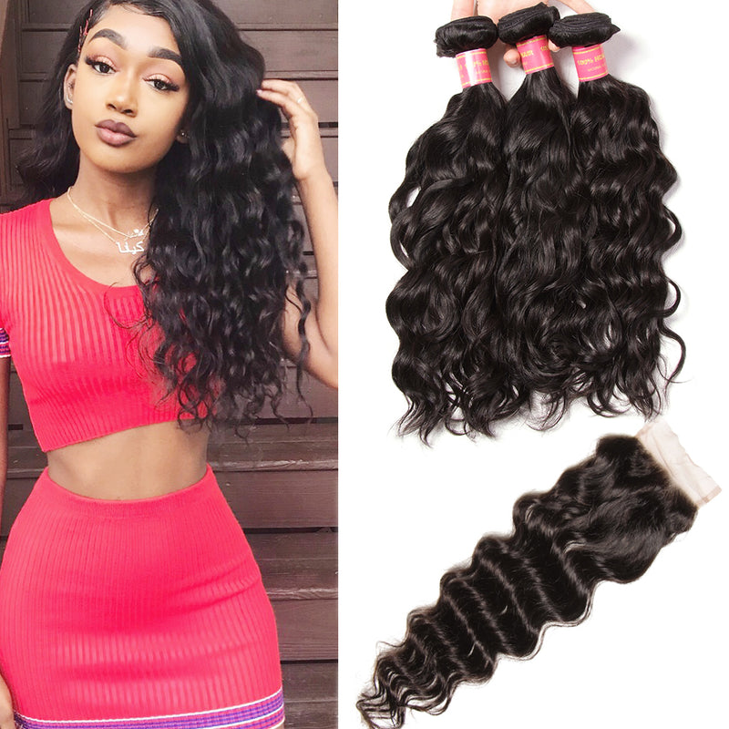 "Brazilian Hair Natural Wave Hair 3 Bundles With 4""*4"" Lace Closure - Sunberhair"