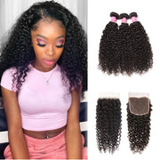 Sunber Jerry curly Hair Weave 3 Bundles With 4x4 Lace Closure Customize Wig 250% Density Human Hair Wig