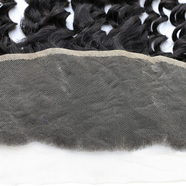 Peruvian Hair Deep Wave 3 Bundles with Lace Frontal, 100% Human Hair Ear to Ear Lace Frontal Closure - Sunberhair