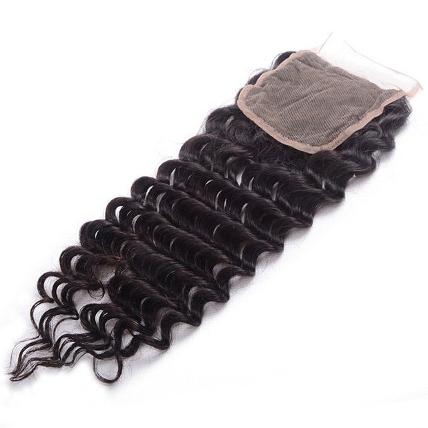 "Malaysian Hair Deep Wave 3 Bundles With  4""*4"" Lace Closure, Free Part Closure, 7A Grade - Sunberhair"