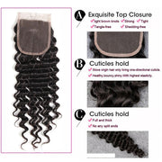 Brazilian Hair Deep Wave 4 Bundles with 4*4 Lace closure, 100% Human Virgin Hair - Sunberhair