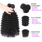 Sunber Hair Remy Human Hair Deep Wave Hair 1 Bundle Peruvian/Malaysian/Brazilian Human Hair Weaves
