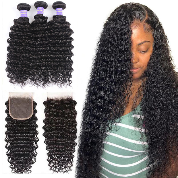 Sunber Hair Malaysian Remy Human Hair Deep Wave 3 Bundles With 4*4 Lace Closure Free Part Closure