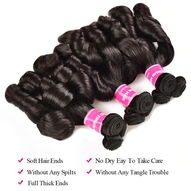 Sunber Hair Brazilian Funmi Curl Loose Wave, Double Drown Human Hair Bundles On Sale
