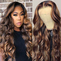 Sunber Trendiest Ombre Highlight Color #1B/30 Balayage Blonde Human Hair Lace Front Wigs