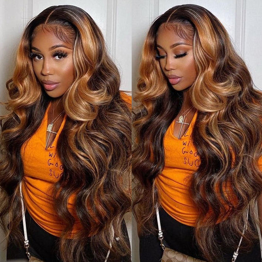Sunber Balayage Highlights 13x4 Lace Front Wigs Free Part #1b/30 Dark Roots Body Wave Human Hair Wigs