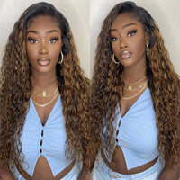 Sunber Highlight Blonde Balayage Color Water Wave 13x4 Lace Front Wigs For Summer