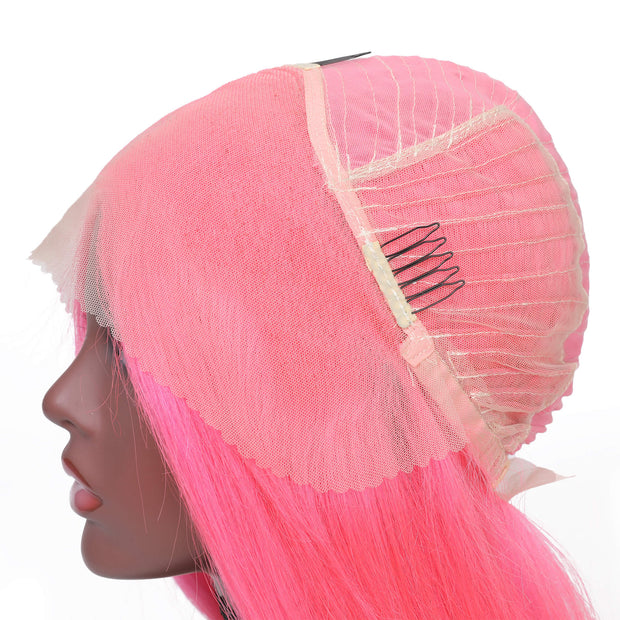Sunber Short Pink Bob Wig 13*4 Lace Front Remy Human Hair Wig Baby Hair