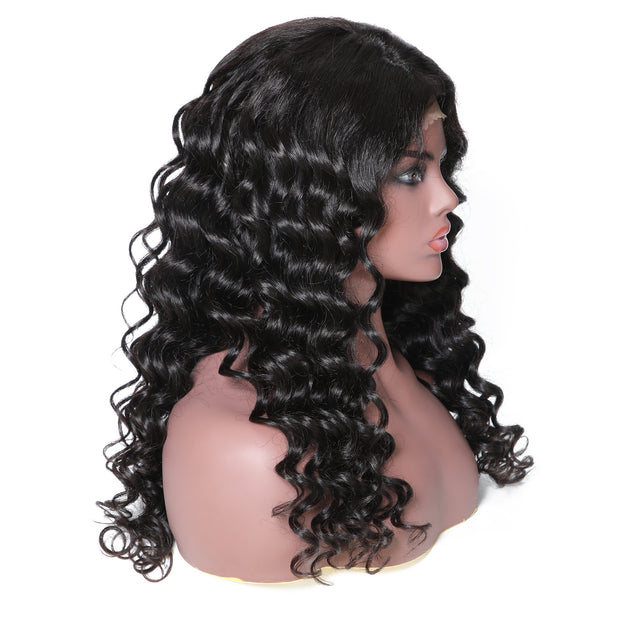 Sunber 13*6 Lace Front 100% Human Hair Wig Spiral Wave Hair Wig 14-22 Inches 150% Density