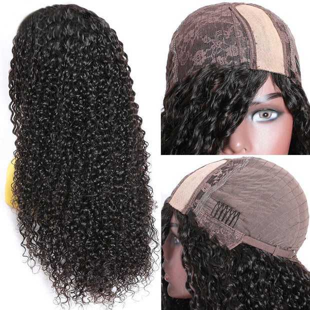 Sunber PU Silk Lace Base Curly Hair Wig 4x2 Right Side Premade Fake Scalp Human Hair Wigs For Women