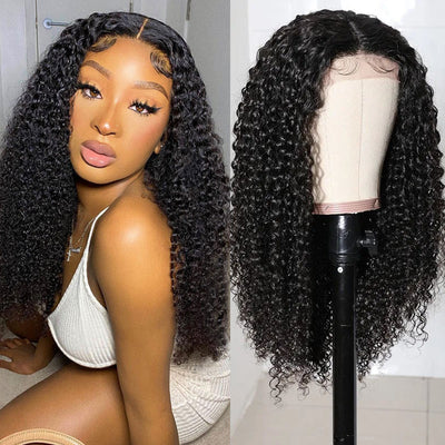 Sunber Jerry Curly Lace Part Wig High Quality 4x4 Lace Closure Hand Tied Lace Part Line Natural Color Hair Wigs 150% Density