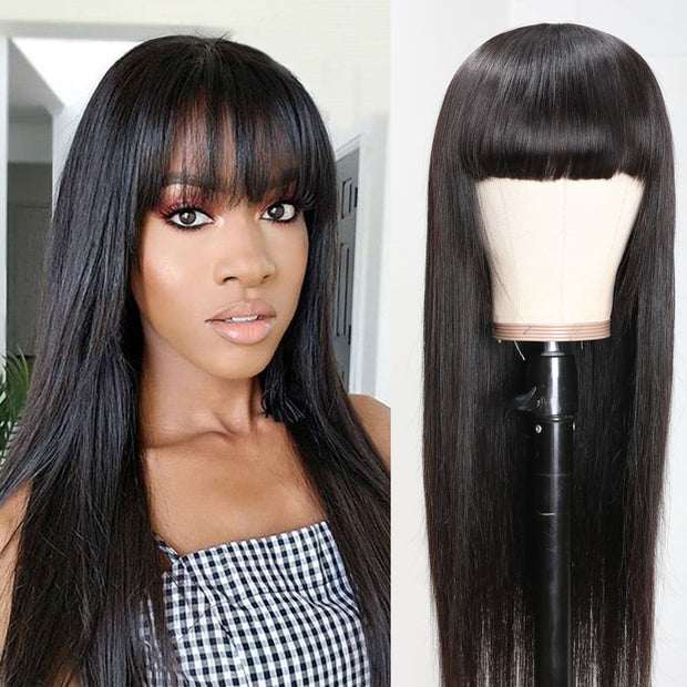 Sunber Hair Brazilian Human Hair Wig with Bangs Silky Straight Machine-made Wig 12-24 inch On Sale