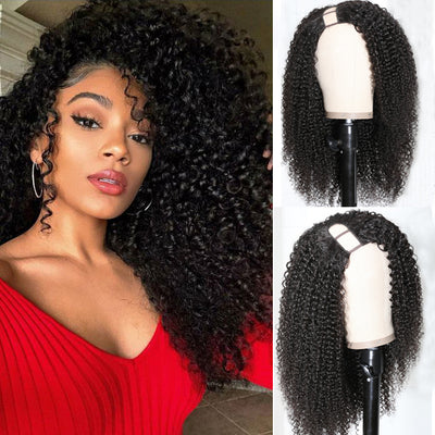 Sunber Kinky Curly Human Hair Wigs 4x2 Size Right Side U Part Wigs 180% Density Free Shipping For Women