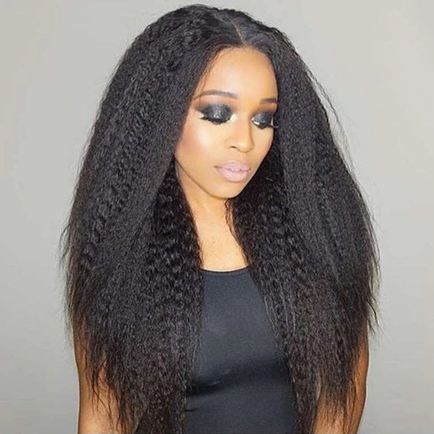 Lace frontal Human Kinky Straight Hair Wig 10-24inch, 100% Remy Human hair, 130% /150% Density