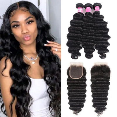 Sunber Hair Brazilian Loose Deep Wave 3 Bundles Hair with 4*4 Lace Closure Deals