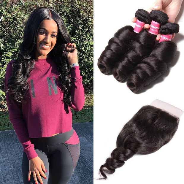 Sunber Hair Brazilian Virgin Loose Wave Hair 3 Bundles with 4*4 Lace Closure, 100% 7A Virgin Hair Bundles