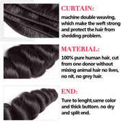 Sunber Virgin Brazilian Loose Wave Hair 4 Bundles - 100% Unprocessed Human Bundle Deals - Sunberhair