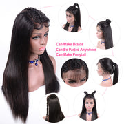 Sunber 9a Grade Transparent  Lace Front Human Straight Hair Wig 150%/180% Density