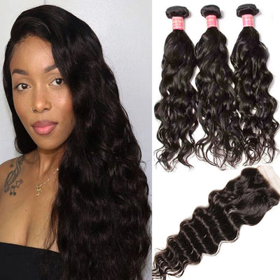 Sunber Hair Malaysian Natural Wave Hair 3 Bundles with Lace Closure,  100% 7A Good Virgin Hair