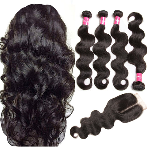 Virgin Malaysian Hair Body Wave 4 Bundles With 4*4 Lace Closure, Tangle Free, No Shedding - Sunberhair