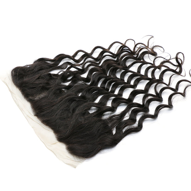 Peruvian Virgin Natural Wave Hair 3 Bundles with Lace Frontal, 100% Human Virgin Hair - Sunberhair