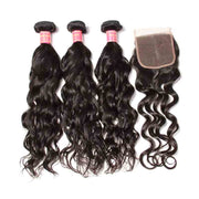 Malaysian Natural Wave Hair 3 Bundles with Lace Closure,  100% 7A Good Virgin Hair