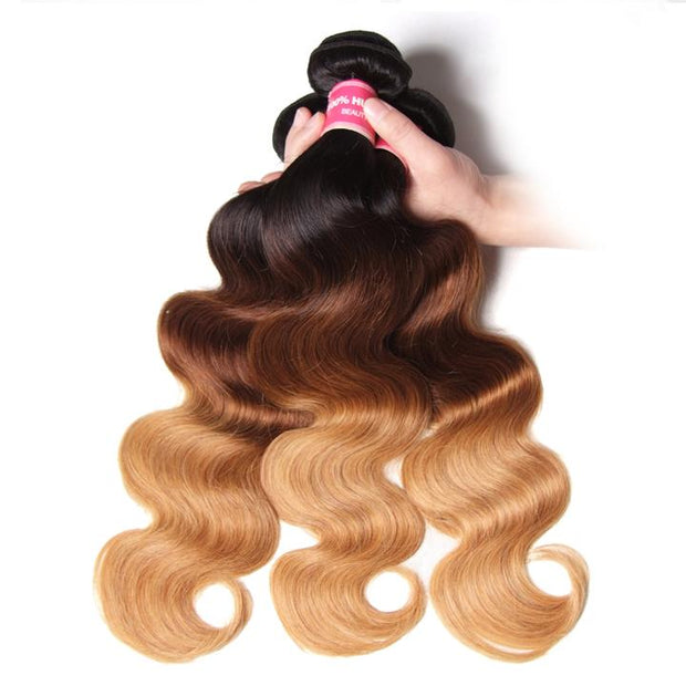 Ombré Hair T1b/4/27 Body Wave Human Hair 3 Bundles with Lace Closure - Sunberhair