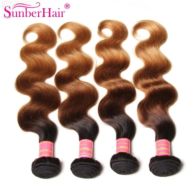 Sunber Hair Ombre Brazilian Body Wave Virgin Hair 3/4 Bundles for Sale T1B/4/27 Color