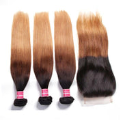 Ombré Hair T1b/4/27 Straight Human Hair 3 Bundles with Lace Closure - Sunberhair
