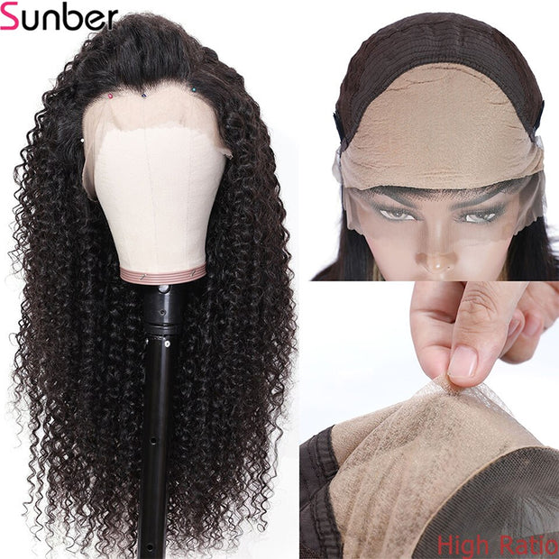 Sunber Fake Scalp Curly Human Hair Wigs 13*4 13*6 Lace Front Wig Ivisible Glueless Lace Curly Hair Wig With Baby Hair 150% Density