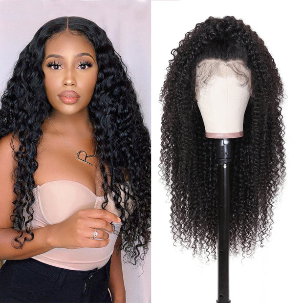 Sunber Premade Fake Scalp 13*4/13*6 Lace Front Wig Invisible Glueless  Lace Curly Hair Wig