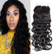 Virgin Natural Wave Hair 4x4 Free Part Swiss Lace Closure, 1pcs. Malaysian/Brazilian/Peruvian Hair - Sunberhair