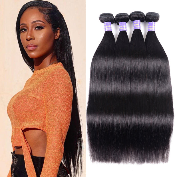 Sunber Hair Peruvian Straight Hair 4 Bundles New Remy Human Hair Weave