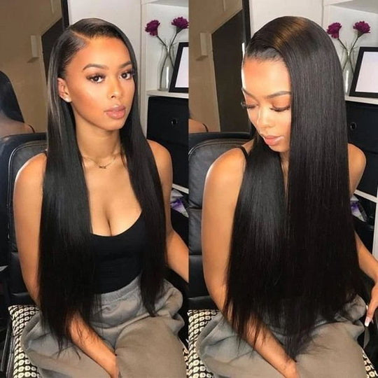 Malaysian Silky Straight Hair 3 Bundles Remy Human Hair with 4x4 Swiss Lace Closure
