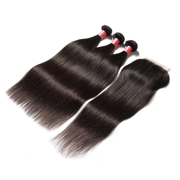 Sunber Hair Indian Virgin Hair Silky Straight Hair 3 Bundles With 4x4 Lace Closure, 8A Human Hair Weaves