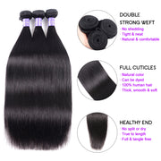 Sunber Hair Thick Brazilian Straight Hair 3 Bundles Remy Human Hair Weaves
