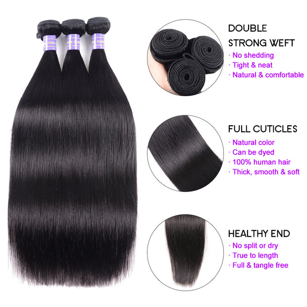 Sunber Hair Affordable Remy Human Hair Peruvian Straight Hair Bundles 3pcs/Pack 100% Unprocessed Human Hair Weave