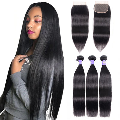 Sunber Hair Malaysian Silky Straight Hair 3 Bundles Remy Human Hair with 4x4 Swiss Lace Closure