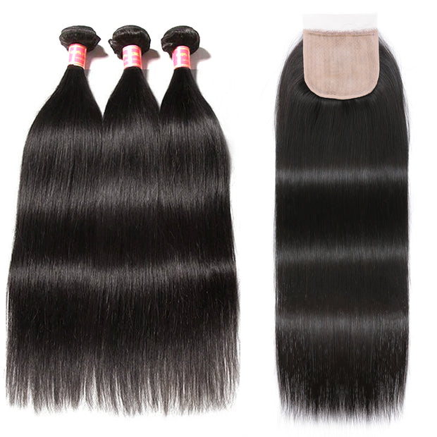 Sunber Straight Hair 3 Bundles Virgin Human Hair with 4x4 Fake Scalp PU Silk Lace Closure Pre-Plucked with Baby Hair