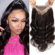 Sunber Hair Brazilian Body Wave Hair 360 Frontal Closure with 3 Bundles Weaves, 100% Human Extension Hairs
