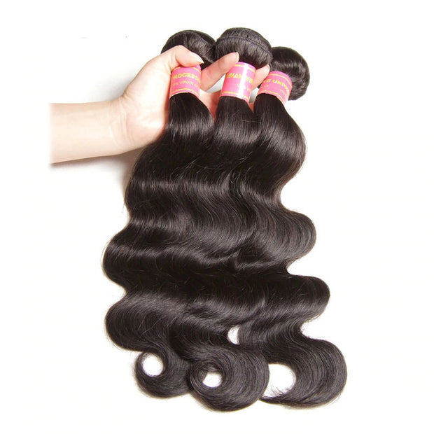 Sunber Hair Body Wave 3 Bundles with 13*4 Transparent Ear to Ear Frontal Closure